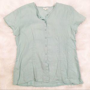 Eileen Fisher light blue linen button up shirt med